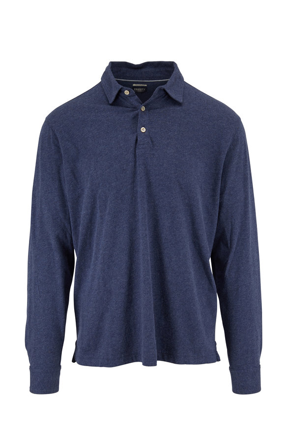 Faherty Brand Reserve Navy Heather Long Sleeve Polo