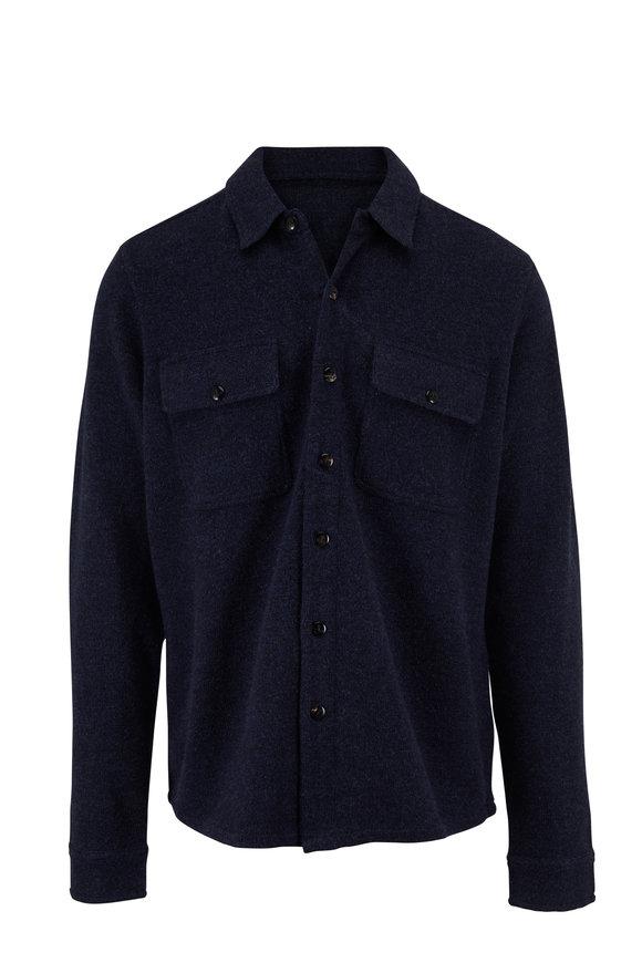 Faherty Brand Deep Navy Marl Wool Over Shirt