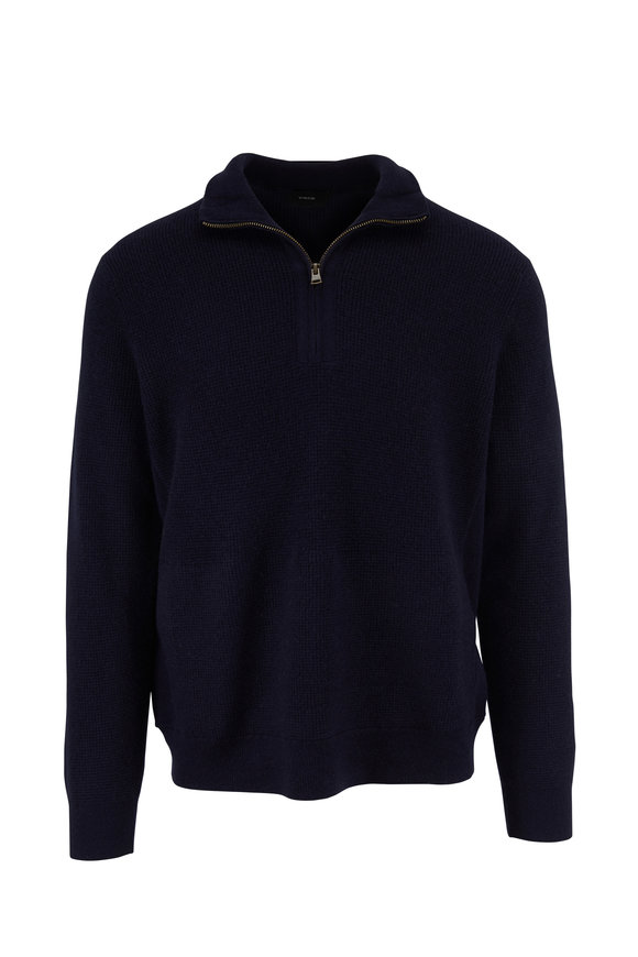 Vince Coastal Navy Blue Thermal Wool Blend Quarter-Zip