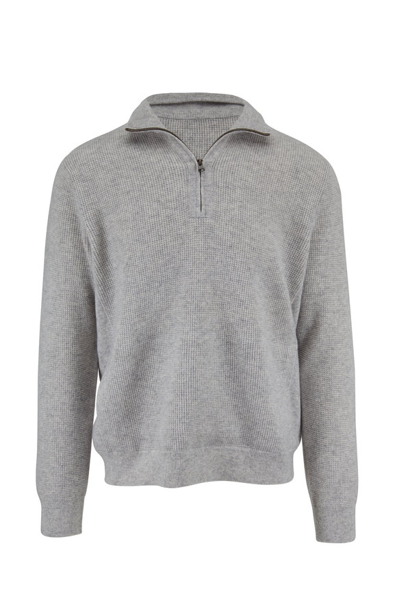 Vince Dove Gray Thermal Quarter-Zip Pullover