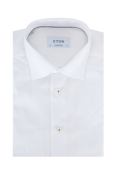 Eton - Solid White Contemporary Fit Dress Shirt