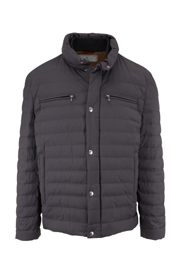 Brunello Cucinelli Dark Gray Front Snap Nylon Puffer Coat