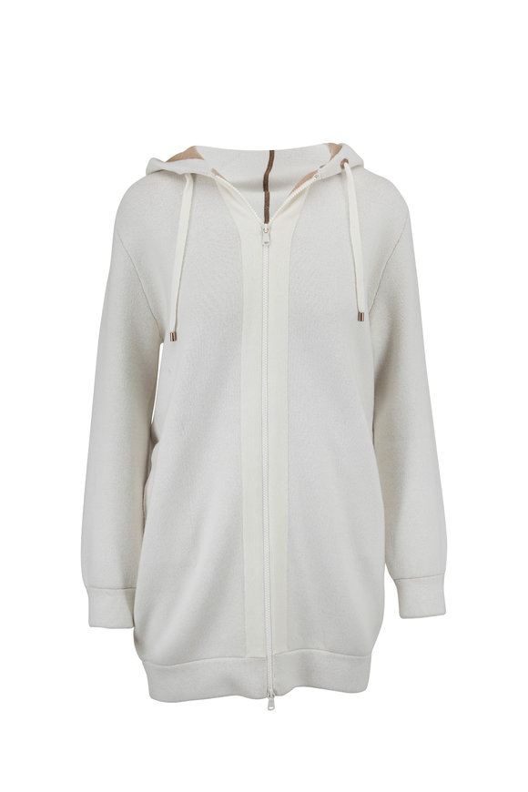 Brunello Cucinelli Natural Double-Face Cashmere Mid Length Zip Hoodie