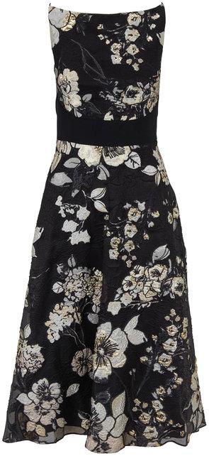 Lela Rose Black & Ivory Boatneck Sleeveless Dress
