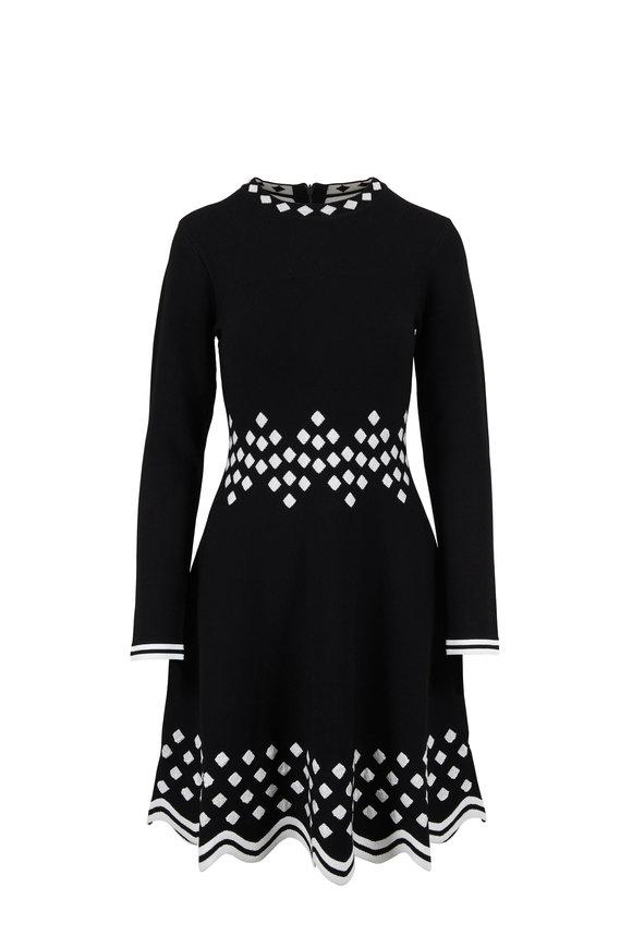 Lela Rose Black & White Long Sleeve Knit Dress