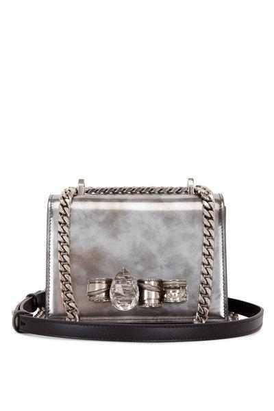 Alexander McQueen - Silver Burnished Jeweled Knuckle Shoulder Bag