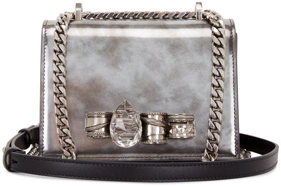Alexander McQueen Silver Burnished Jeweled Knuckle Shoulder Bag