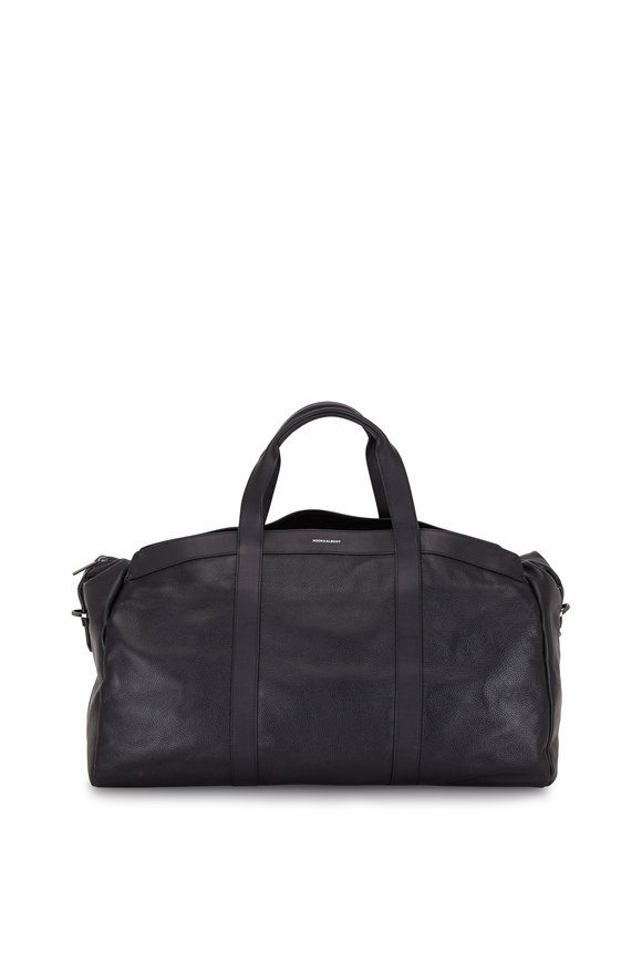 Hook + Albert Getaway Black Pebbled Leather Duffle Bag