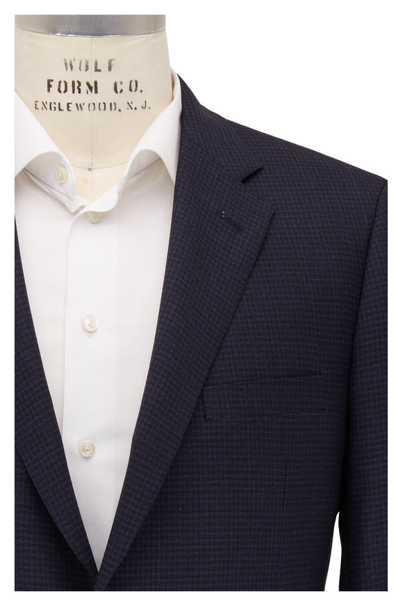Samuelsohn Navy Micro Check Wool Suit