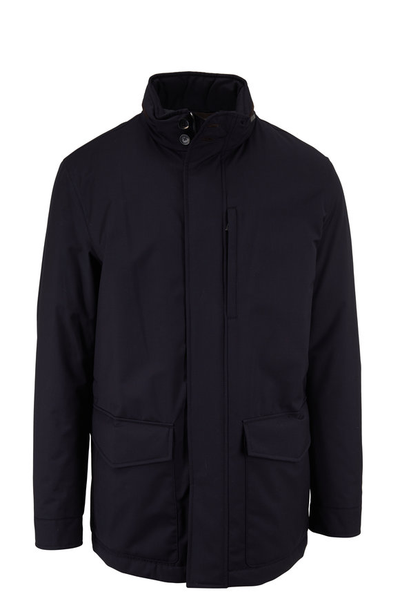 Ermenegildo Zegna Elements Navy Wool & Silk Jacket