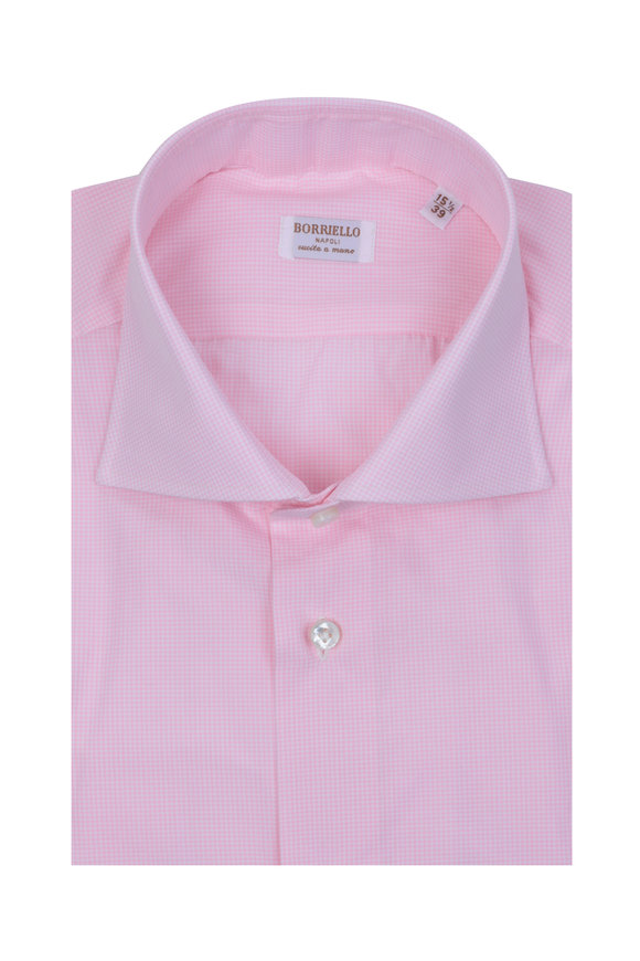 Borriello Pink Mini Check Dress Shirt
