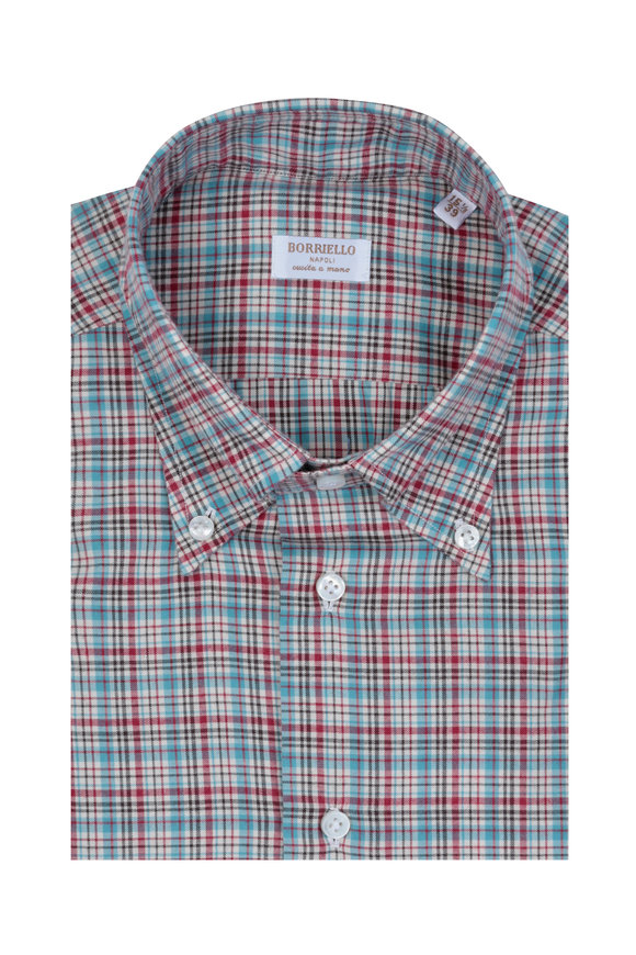 Borriello Red & Turquoise Plaid Dress Shirt