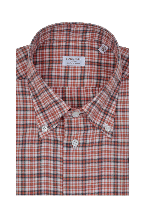Borriello Orange & Blue Plaid Dress Shirt