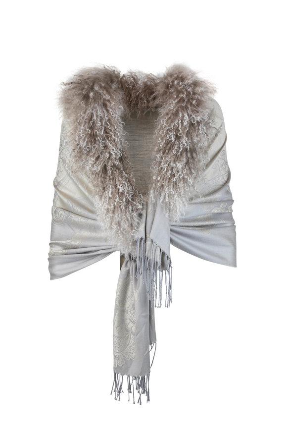Viktoria Stass Gray Fur Trim Shoulder Wrap