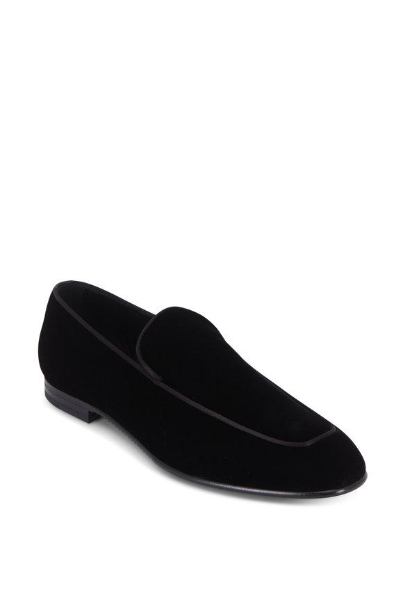 Ermenegildo Zegna Scarpe Black Velvet Loafer