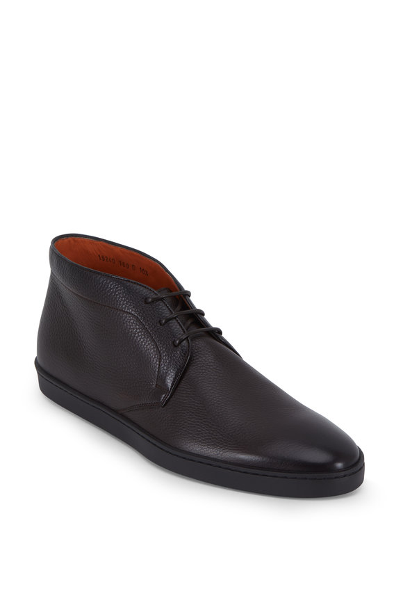 Santoni Leland Dark Brown Deerskin Lace-Up Boot