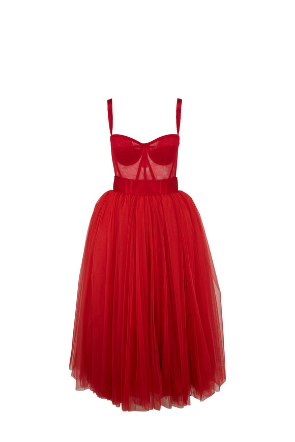 Dolce & Gabbana Bright Red Bambola Tulle Dress