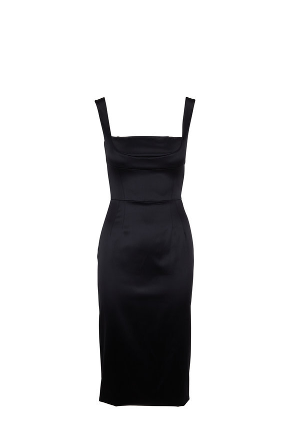 Dolce & Gabbana Black Satin Square Neck Sleeveless Dress
