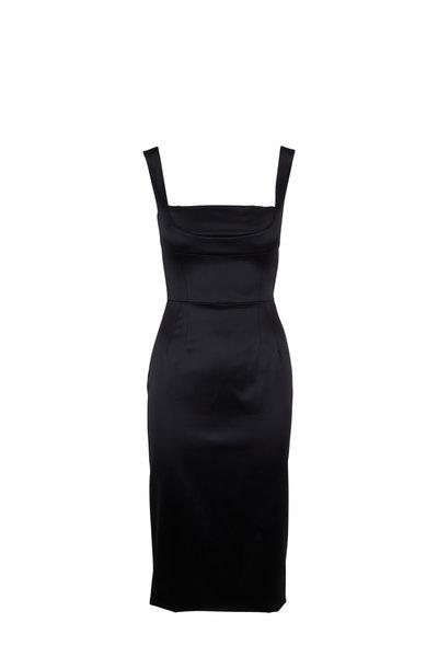 Dolce & Gabbana - Black Satin Square Neck Sleeveless Dress