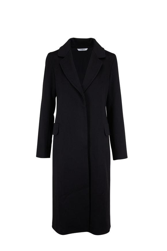 Fleurette Black Wool Narrow Notch Collar Coat