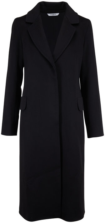 Fleurette Black Wool Narrow Notch Collar Coat