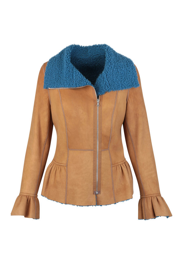 Viktoria Stass Camel & Blue Shearling Peplum Hem jacket