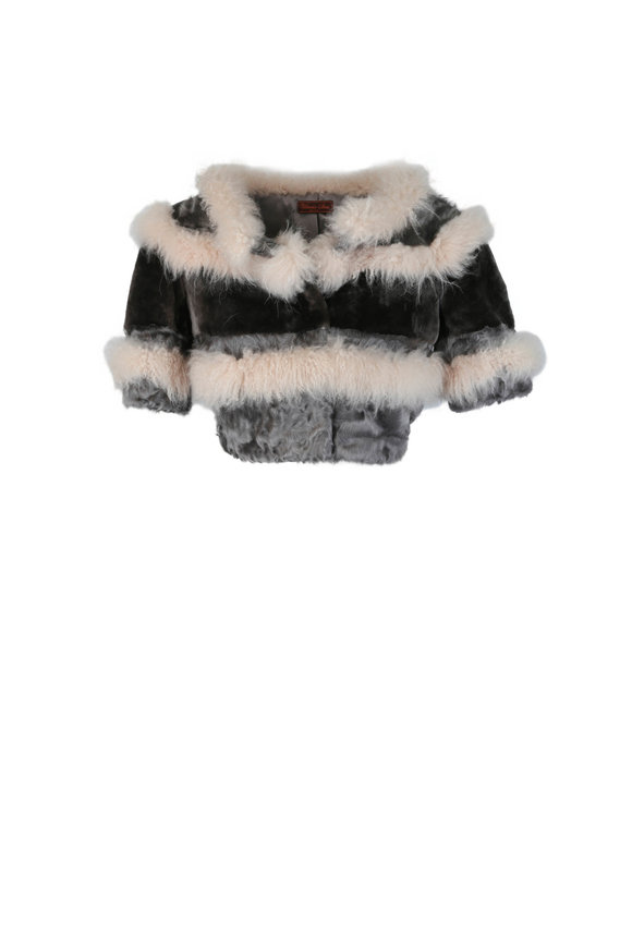 Viktoria Stass Gray & Beige Cashmere & Fur Bolero Jacket