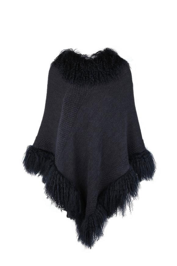 Viktoria Stass Navy Blue Knit Fur Trim Poncho