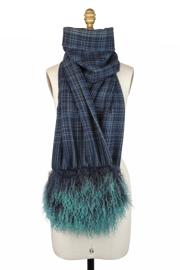 Viktoria Stass Navy Blue & Green Fur Trim Scarf