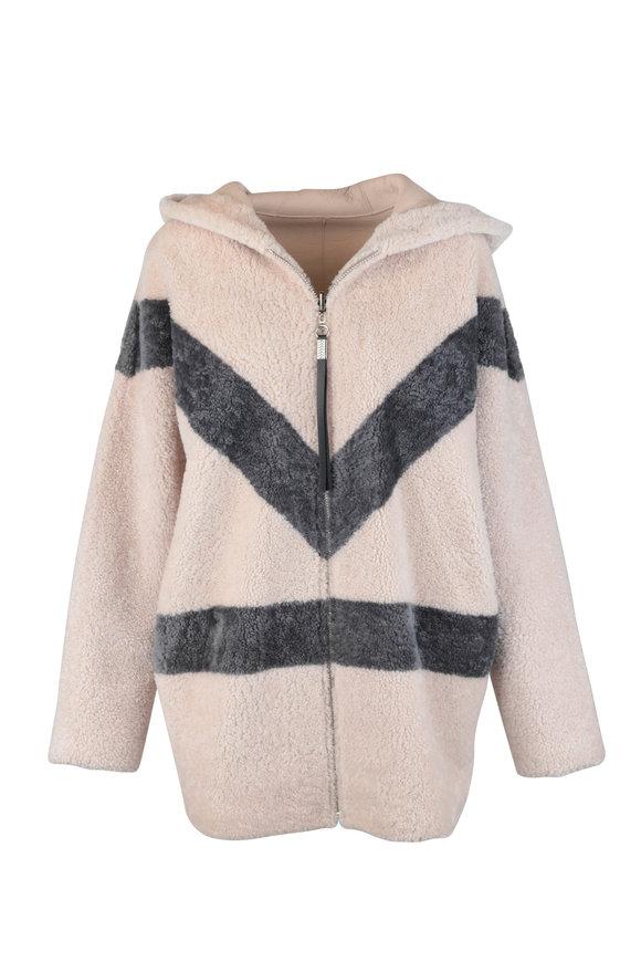 Viktoria Stass Ivory & Gray Shearling Reversible Hooded Jacket