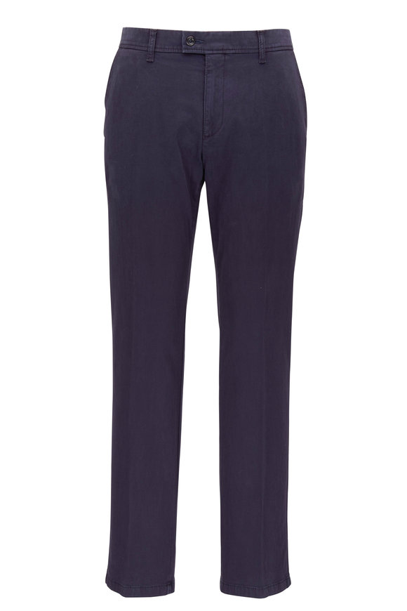 Brax Evans Navy Brushed Cotton Flat Front Pant