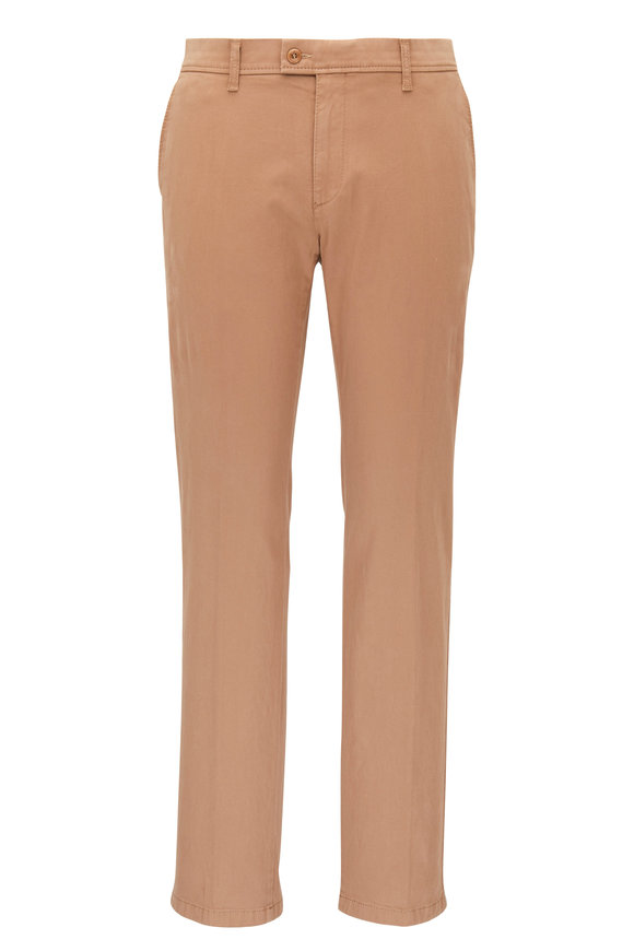 Brax Evans Camel Brushed Cotton Flat Front Pant