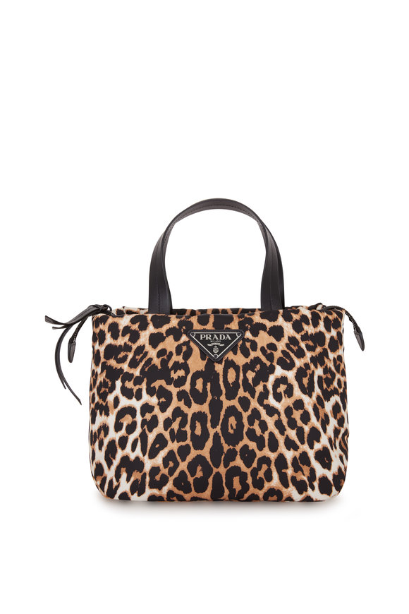 Prada Leopard Nylon Top Handle Tote