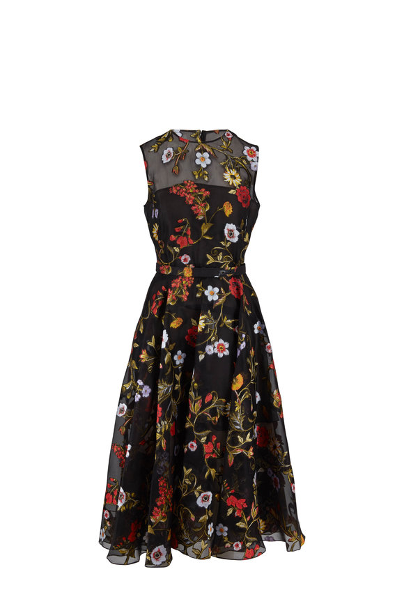 Oscar de la Renta Black Floral Embroidered Chiffon Sleeveless Dress