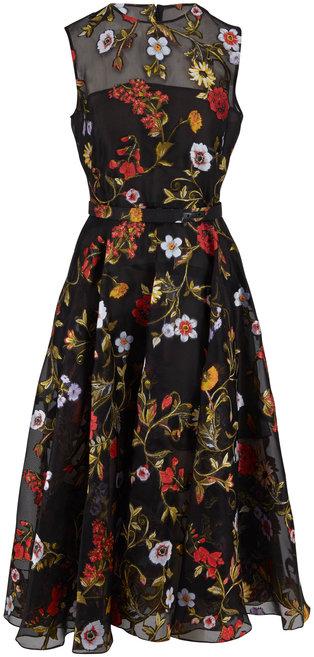 Oscar de la Renta Black Floral Embroidered Chiffon Sleeveless Dress