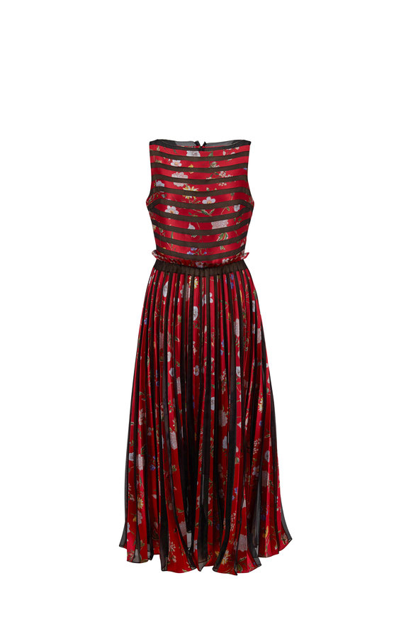Oscar de la Renta Red Floral Embroidered Illusion Striped Dress