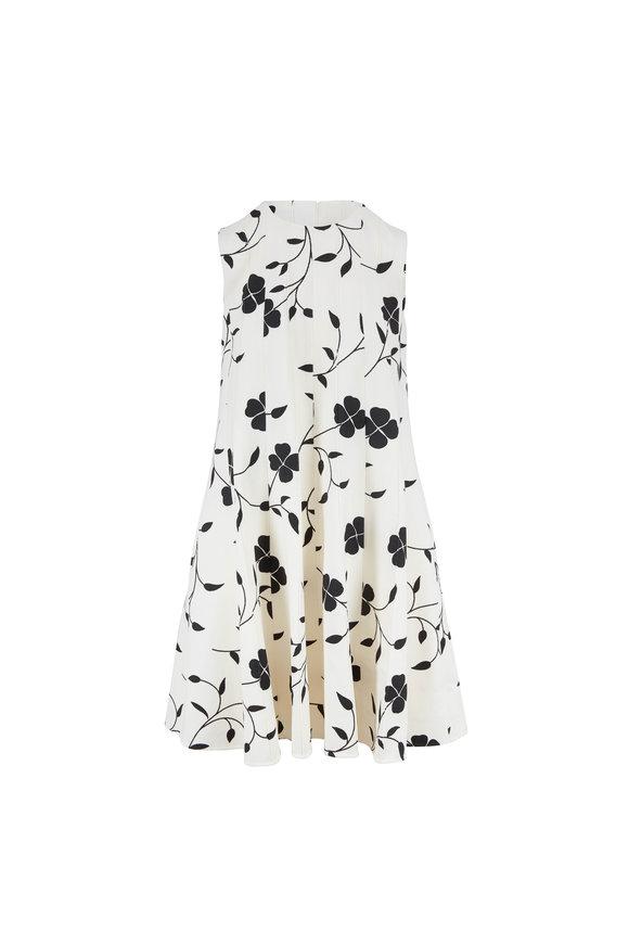 Oscar de la Renta Ivory Floral Print Wool A-Line Dress
