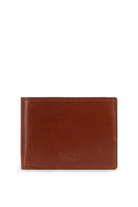 Shinola Bourbon Leather Slim Bi-Fold Wallet
