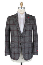 Isaia - Gray & Red Windowpane Alpaca Blend Sportcoat