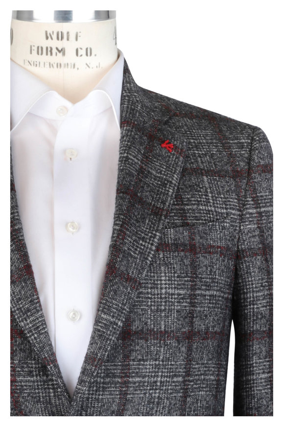 Isaia Gray & Red Windowpane Alpaca Blend Sportcoat