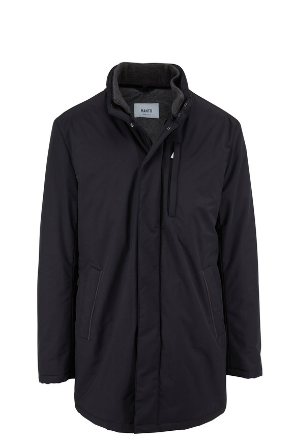 Manto Connor Black Wool & Nylon Coat