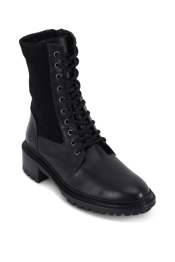 Aquatalia Orianna Black Leather & Stretch Suede Boot