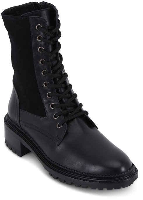 Aquatalia Orianna Black Leather & Stretch Suede Boot