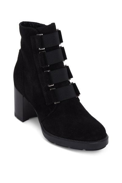 Aquatalia - Ilanna Black Suede Weatherproof Ankle Boot, 70mm