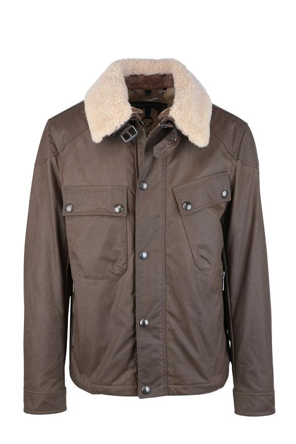 Belstaff Patrol Moss Waxed Cotton & Shearling Jacket