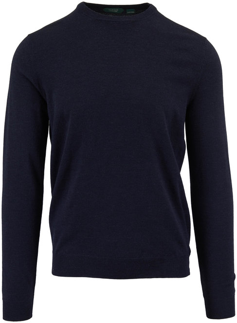 Incotex Navy Flex Wool Crewneck Pullover