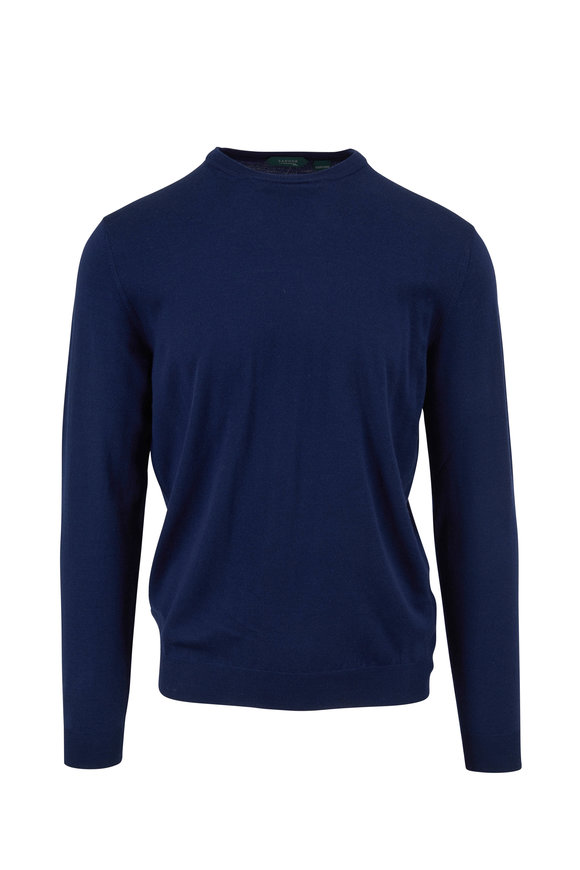 Incotex Royal Blue Flex Wool Crewneck Pullover