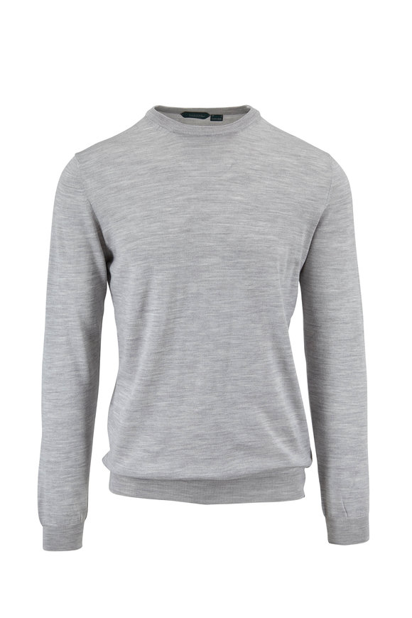 Incotex Light Gray Flex Wool Crewneck Pullover