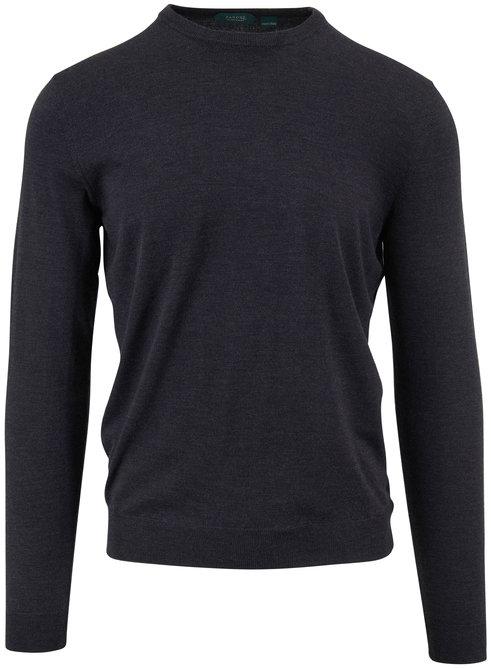 Incotex Gray Melange Flexwool Crewneck Sweater