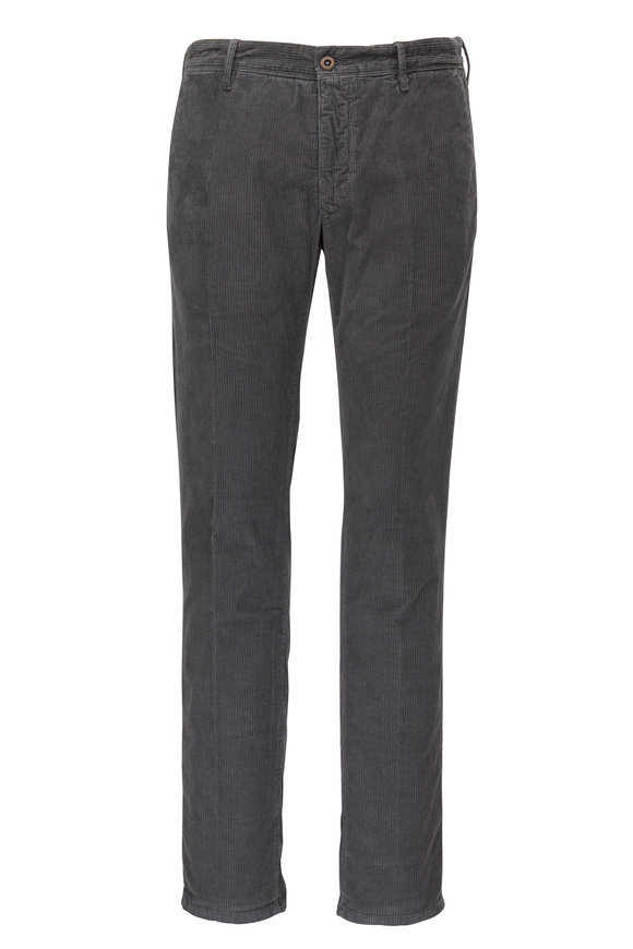 Incotex Gray Slim Fit Corduroy Pant
